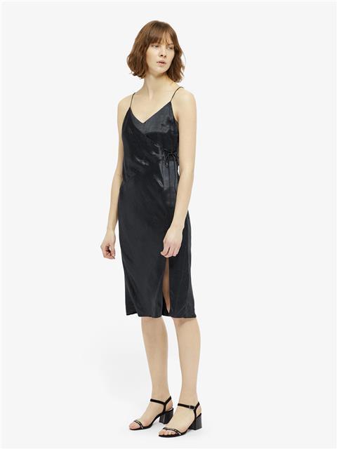 Womens Cherry Metallic Drapy Wrap Slip Dress JL Navy