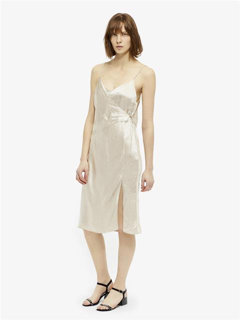 Womens Cherry Metallic Drapy Wrap Slip Dress Silver