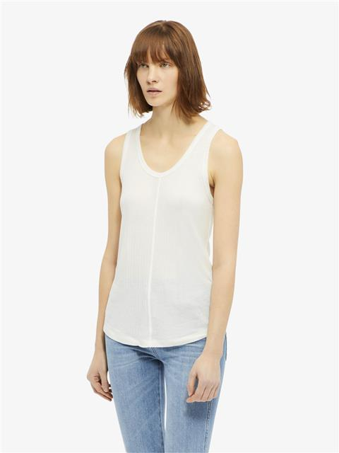 Womens Ceres Silky Ribbed Tank Top Off White