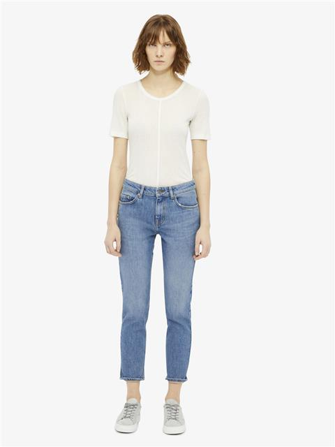 Womens Lyn Silky Ribbed T-shirt Off White