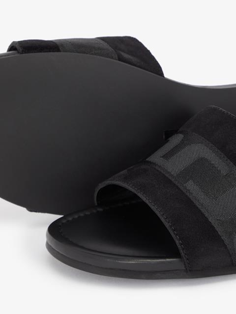 Womens Flat Suede Sandal Black