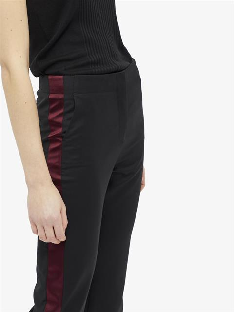 Womens Beverly Tailored Wool Tuxedo Pants Black