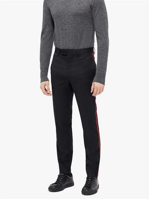 Mens Vernon Stripe Wool Twill Pants Black