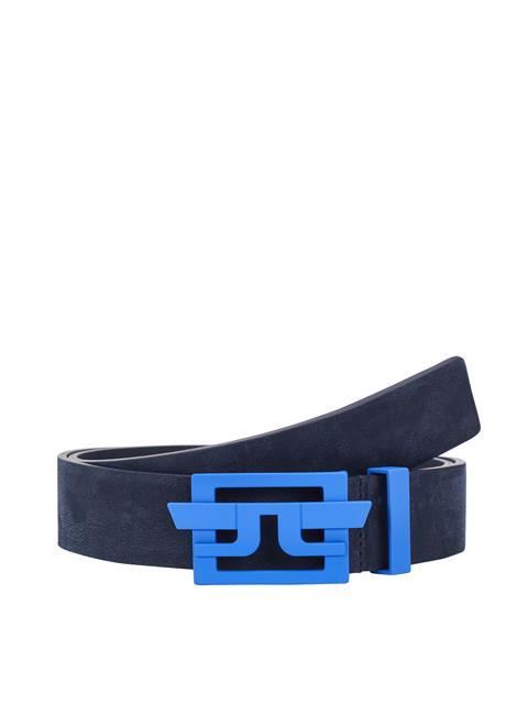 Mens New Wing Brushed Leather Belt Daz Blue