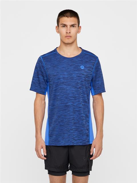 Mens Curved Run Melange Jersey T-shirt Daz Blue