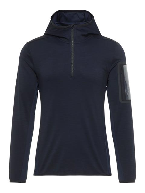 Womens Curved Running Jersey Hoodie JL Navy