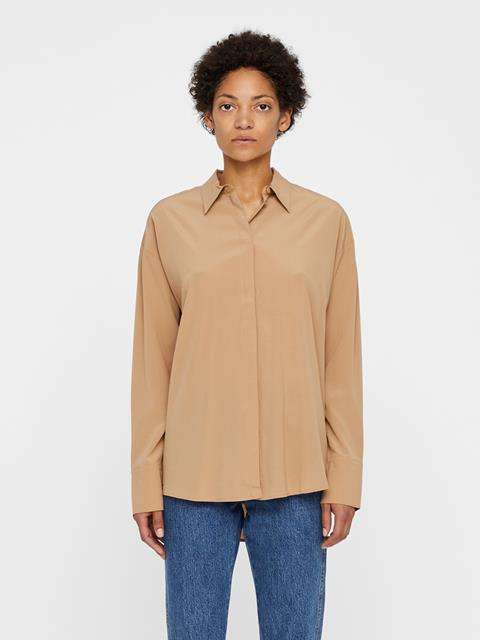 Womens Nicole Stretch Silk Shirt Burro