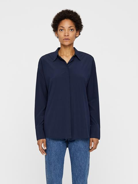Womens Nicole Stretch Silk Shirt JL Navy