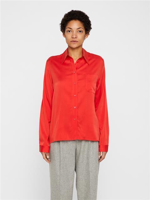 Womens Mallory Washed Silk Shirt Molten Lava