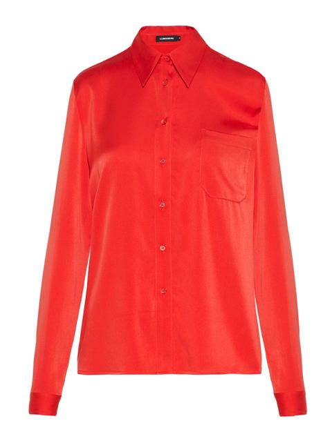 Womens Mallory Washed Silk Shirt Molten Lava