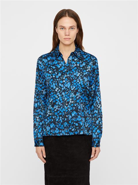 Womens Mallory Washed Silk Shirt Wonder Blue