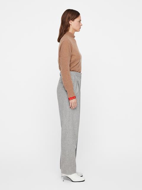 Womens Avalon Wool Flannel Pants Lt Grey Mel
