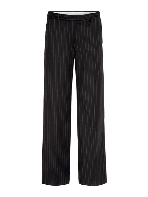 Womens Kori Wool Pin Pants Black Stripe