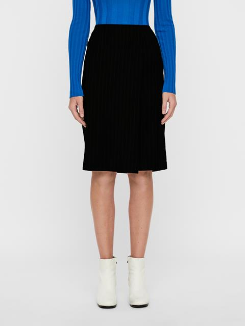 Womens Silva Wool Pin Pencil Skirt Black