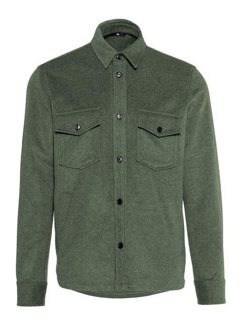 Mens David Flat Wool Overshirt Dark Green