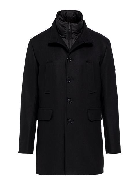 Mens Gavin Compact Melton Coat Black