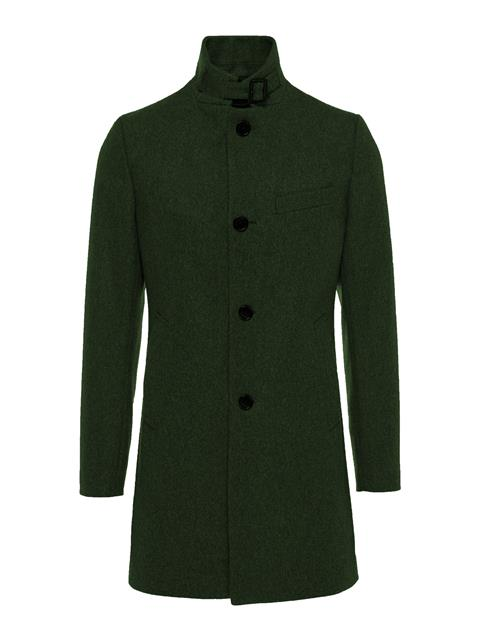 Mens Holger Compact Melton Coat Dark Green