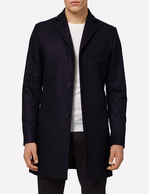Mens Wolger Compact Melton Coat Black
