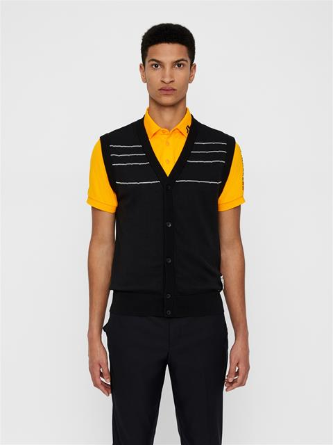 Mens Cesar Cotton Coolmax Cardigan Vest Black