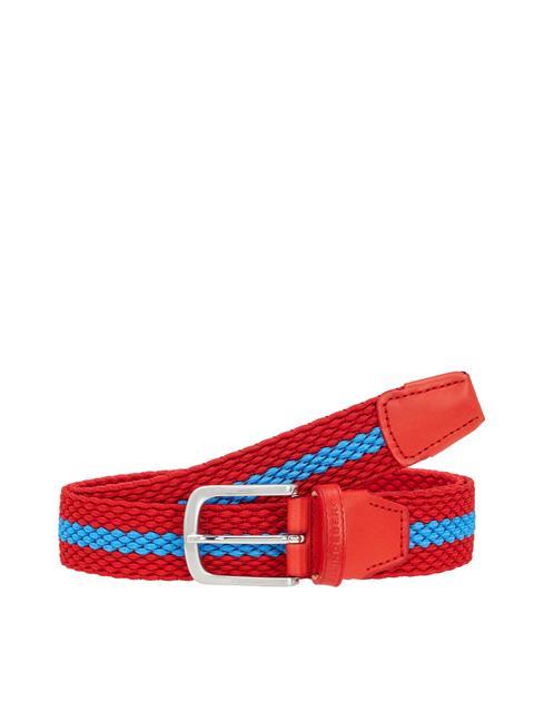Mens Hades Elastic Striped Belt Deep Red
