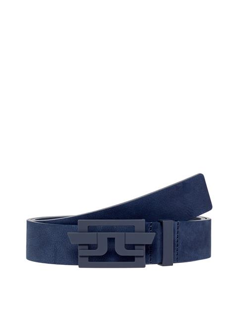 Mens New Wing Brushed Leather Belt JL Navy