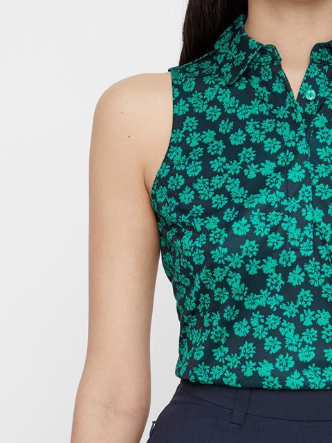 Womens Dena Flower Print Polo Golf Green Flower Print