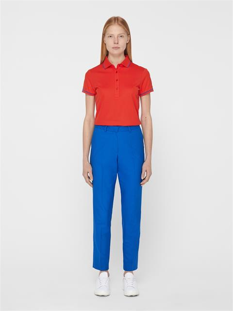 Womens Leana Lux Pique Polo Racing Red