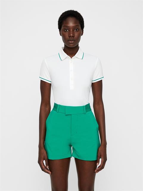 Womens Leana Lux Pique Polo White