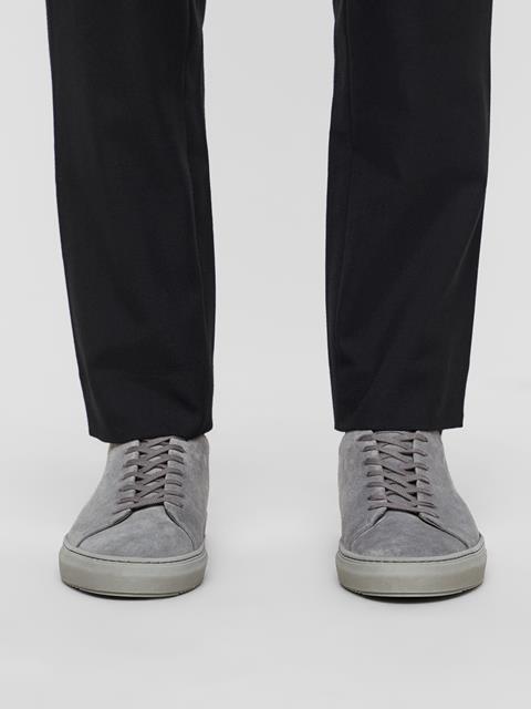 Mens Suede Block Sneakers Dk Grey