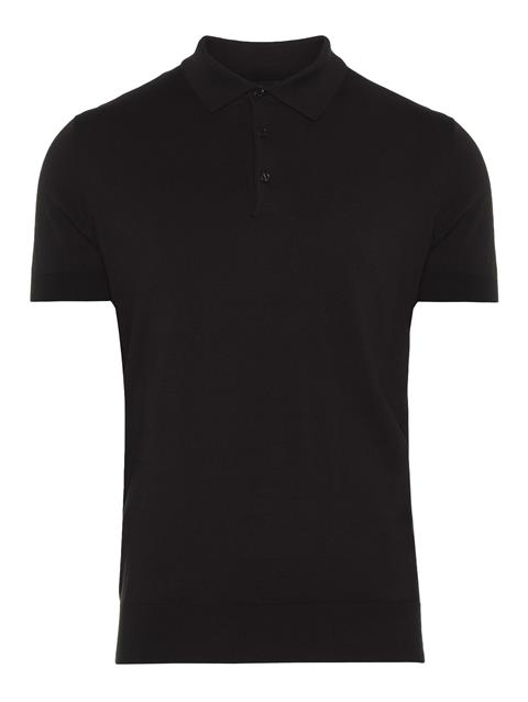 Mens Ridge Cotton Silk Polo Black