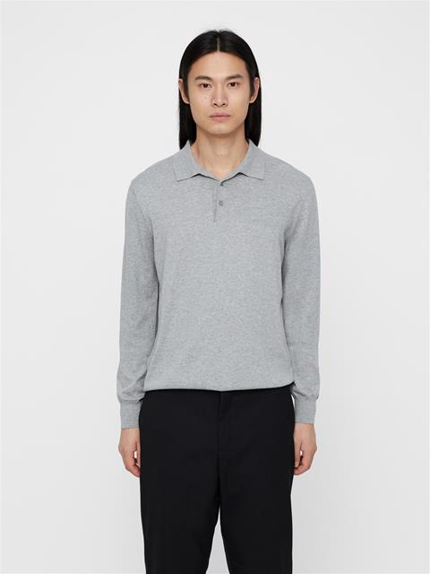 Mens Rowan Cotton Silk Polo Lt Grey Melange