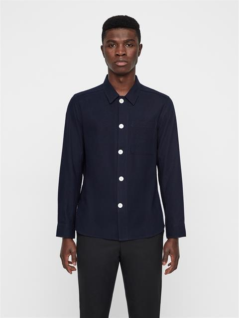 Mens John Silk Noile Overshirt JL Navy