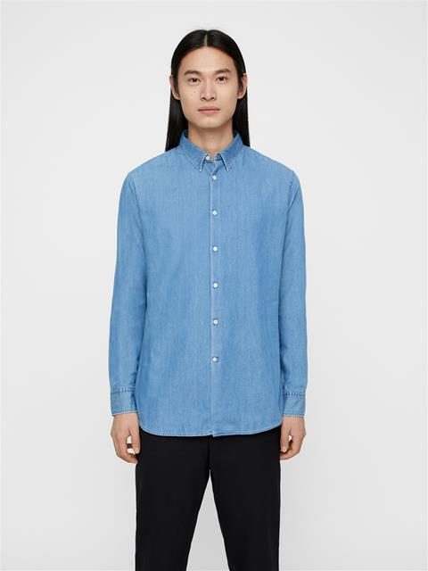 Mens Daniel Washed Indigo Shirt Lt Indigo