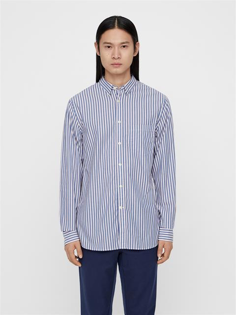 Mens Daniel Striped Poplin Shirt Work Blue