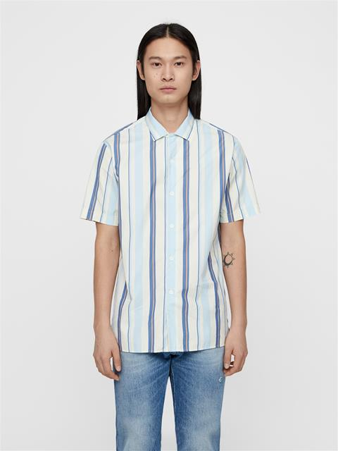 Mens David Striped Resort Shirt Work Blue