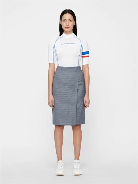 Womens Silva Microcheck Pencil Skirt JL Navy