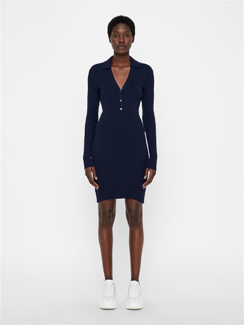 Womens Blanche Cotton Silk Dress JL Navy