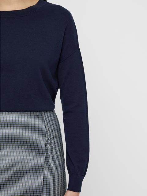 Womens Marion Cotton Silk Sweater JL Navy