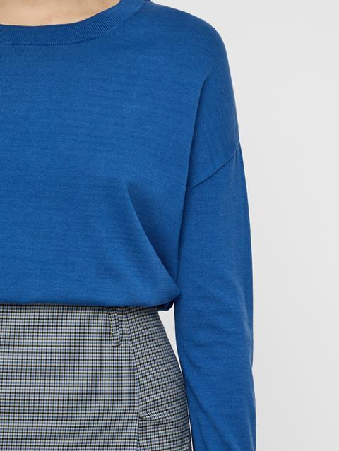 Womens Marion Cotton Silk Sweater Work Blue