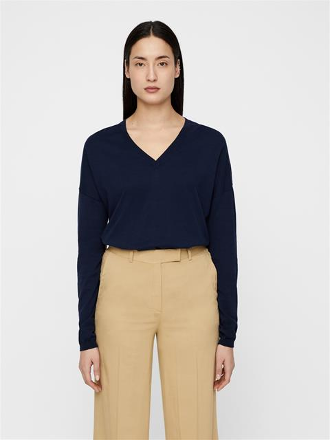Womens Inez Cotton Silk Sweater JL Navy