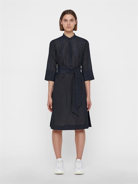 Womens Lisette Silky Cotton Dress Black