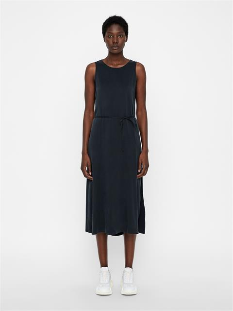Womens Marielle Washed Silk Dress Black