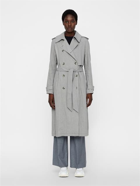 Womens Adalyn Stretch Linen Trenchcoat Soft Ash