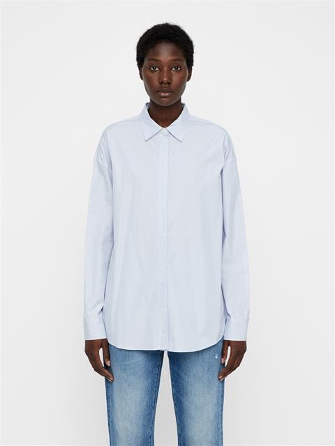 Womens Nicco Cotton Silk Shirt Work Blue