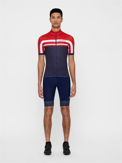 Mens Bike Striped Jersey JL Navy