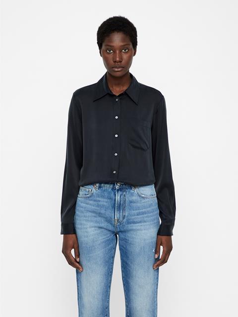 Womens Mallory Washed Silk Shirt Black
