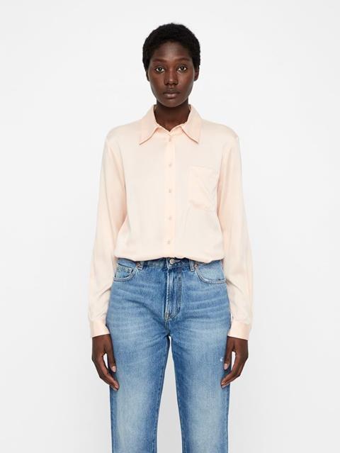 Womens Mallory Washed Silk Shirt Summer Beige