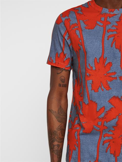 Mens Silo Printed T-shirt Deep Red