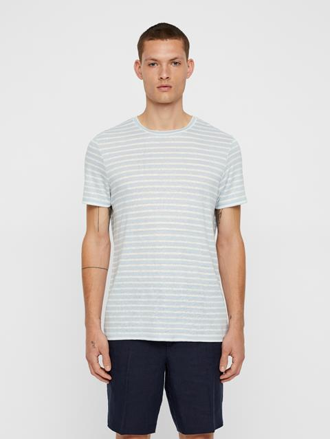 Mens Coma Striped Linen T-shirt Ice Flow