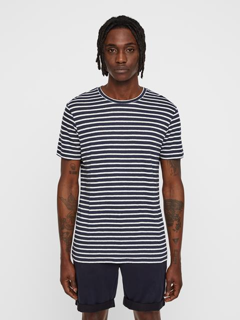 Mens Coma Striped Linen T-shirt JL Navy